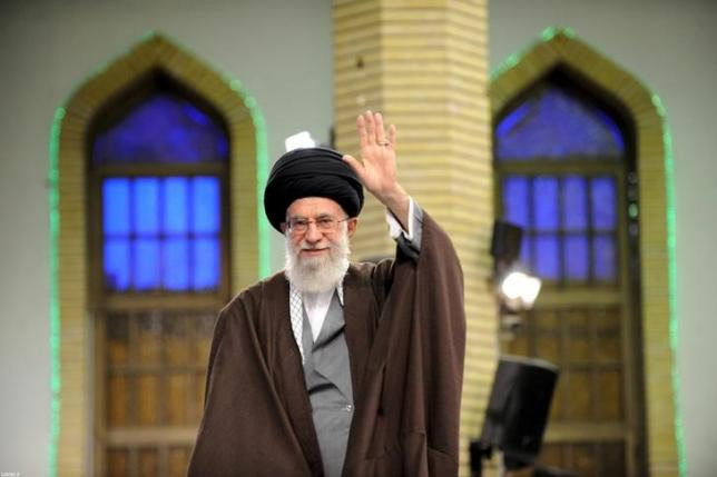 Iran's Supreme Leader Ayatollah Ali Khamenei waves as he arrives to address workers in Tehran, Iraq, April 27, 2016. Click to enlarge