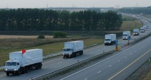 Convoy of nearly 300 Russian trucks en route to the Ukraine carrying humanitarian aid. Click to enlarge
