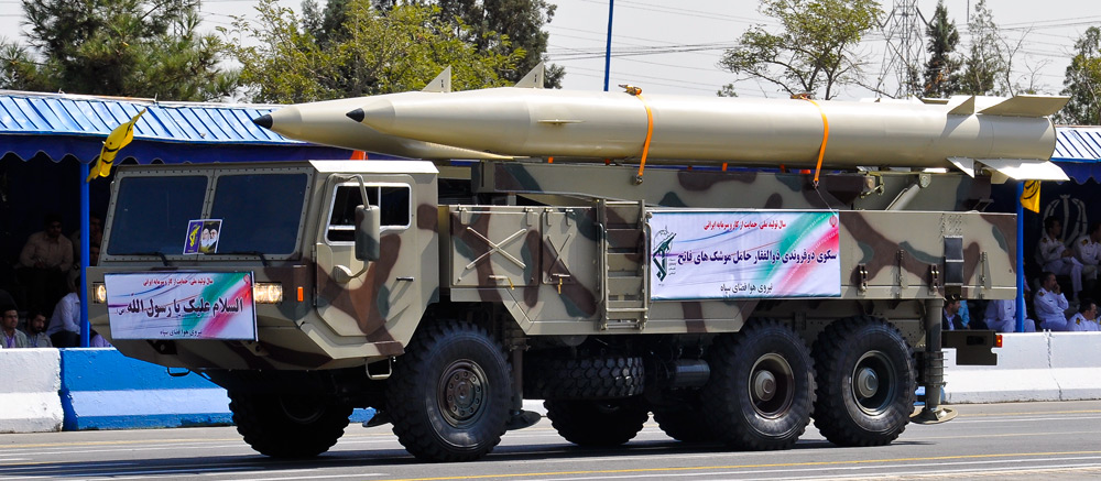 Iranian Fateh-110 missile launcher on parade in Tehran. Click to enlarge