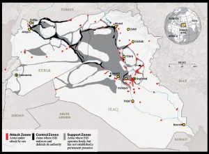 By all accounts, including Western think-tanks and corporate-media, ISIS territory includes corridors that lead up to NATO-member Turkey's borders, as well as US-ally Jordan's. Both nations host a significant number of US military personnel as well as CIA and special forces contingents. Clearly ISIS is a creation and perpetuation of the West, subsiding on a steady stream of supplies streaming from these two bases of operation. Click to enlarge