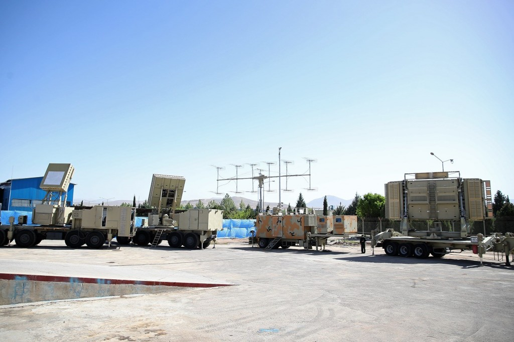 Iranian indigenously developed air defence radars, one of which (far right) is for the Bavar 373, which is thought to be comperable to the Russian S-300. Click to enlarge