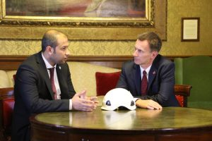 Jeremy Hunt meets the leader of the White Helmets, Raed al-Saleh. Click to enlarge