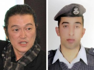 Japanese hostage Kenji Goto (left) and Jordanian Air Force pilot Lt Moaz al-Kasasbeh. Click to enlarge