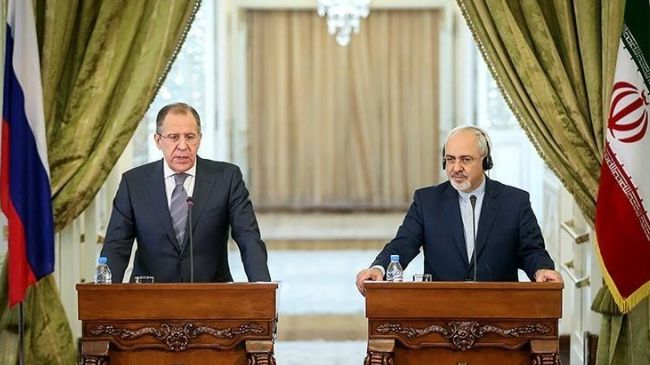 Russian Foriegn Minister Lavrov (left) in a news conference with Iranian Foreign Minister Zarif. Click to enlarge