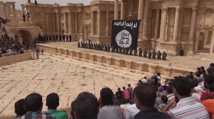 The Palmyra amphitheater under the control of Daesh, before being liberated by Syrian government forces. Click to enlarge