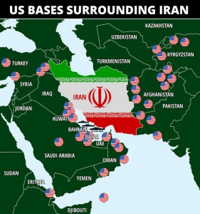 US Bases surrounding Iran. All within easy reach of Iran's surface-to-surface missiles. Click to enlarge