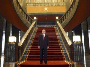 President Erdogan in his new presidential palace. Click to enlarge