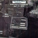 Satellite image dated April 25 shows Ukrainian armored vehicles positioned near the city of Slavyansk