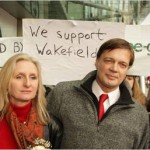 Dr. Andrew Wakefield with his wife, Carmel, at the General Medical Council in January in the U.K.