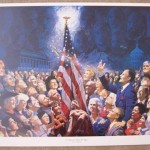 "Communist propaganda type painting commemorating Bush Sr.'s occult call for a ""thousand points of light"""