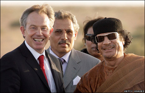Tony Blair and Gaddafi in 2009. Click to enlarge
