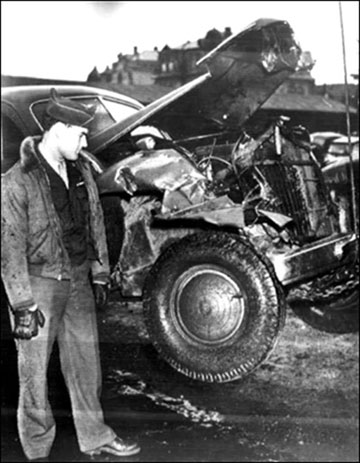 Wreckage from vehicle crash that killed Patton.