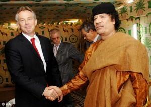 Tony Blair and Libya's Colonel Gaddafi in 2009. Click to enlarge