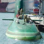 Israeli Dolphin submarine, capable of firing nuclear armed cruise missiles. Click to enlarge