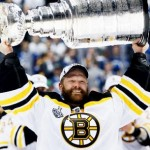 Tim Thomas holding the Stanley Cup in Spring 2011