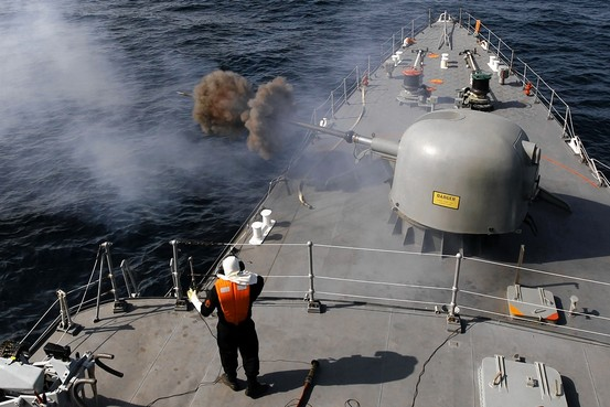 Iranian navy conducting war games in the Strait of Hormuz in January 2012. Click to enlarge