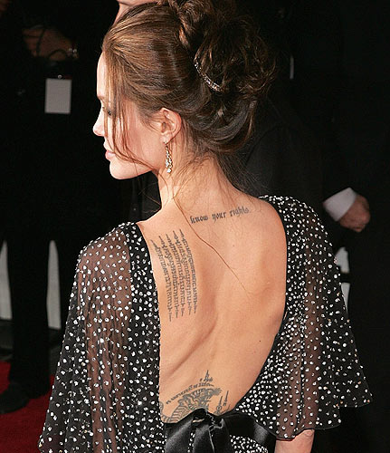 Angelina Jolie back tattoo. Click to enlarge