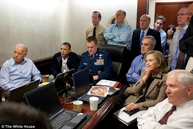 Proving themselves consumate actors/con-artists: Obama, Biden and Hilary Clinton watch the raid on bin Laden's compound via satelitte, allegedly. Click to enlarge