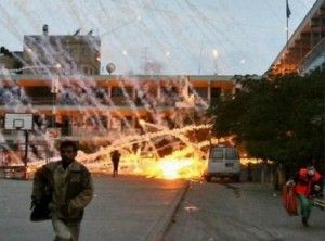 White phosphorus shells explode in Gaza. Click to enlarge