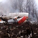 Image from video footage shows firefighters working to extinguish the flames near the wreckage of a Polish government aircraft after it crashed near Smolensk airport in western Russia. Click to enlarge