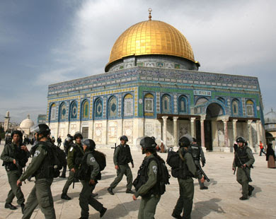 Israeli police at the al Aqsa Mosue