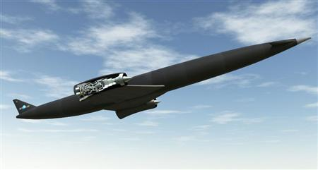 A Skylon in flight with a cutaway of the SABRE engine. Click to enlarge