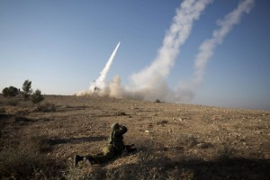 An Israeli missile is launched from the Iron Dome missile system in the southern Israeli city of Beer Sheva. Click to enlarge
