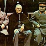 President Franklin D. Roosevelt (centre) with Churchill and Stalin at the Yalta conference. Click to enlarge