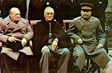 President Franklin D. Roosevelt (centre) with Churchill and Stalin at the original Yalta conference in 1945. Click to enlarge