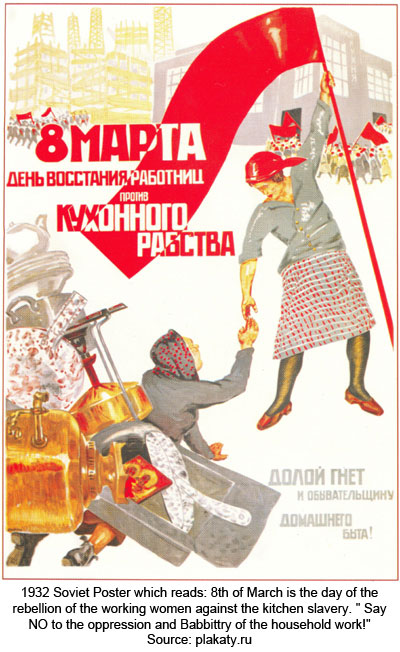"1932 Soviet poster which reads: ""8th of March is the day of rebellion of the working woman against kitchen slavery..."". Click to enlarge"