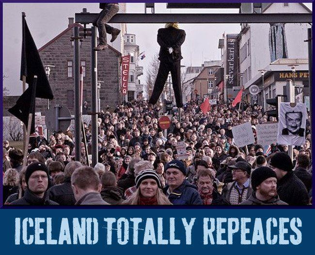 Icelandic protesters. Click to enlarge