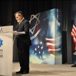 Rabbi Sacks at AIPAC convention. Click to enlarge