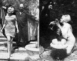 Jayne Mansfield with known satanist Anton Levay. Click to enlarge