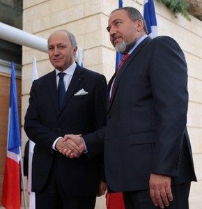 Fabius (left) with Israel's foreign minister Avigdor Lieberman in Israel during the Jewish state's aggression against the Gaza Strip in November 2012.