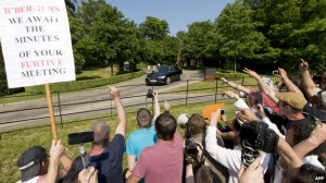 Protesters gather at the 2013 Bilderberg meeting in Watford, England. Click to enlarge