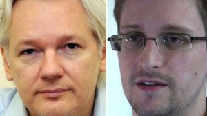 Julian Assange (left) and whistleblower Edward Snowden (right). Click to enlarge