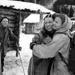 Experienced skiers, Yuri Yudin hugging Lyudmila Dubinina as he prepares to leave the group due to illness, which saved his life as he left the expedition before the deaths. Click to enlarge