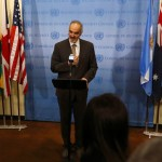 Syrian Ambassador to the UN Bashar Jaafari addresses the media at the UN Headquarters in New York August 28, 2013. Click to enlarge