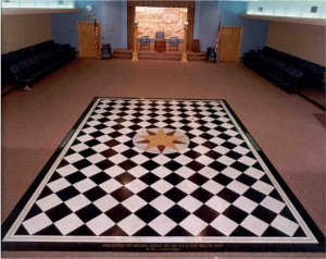Checker board symbolism that is the hallmark of Freemasonry. Click to enlarge