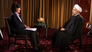 Christiane Amanpour interviews Iran's President Rouhani. Click to enlarge