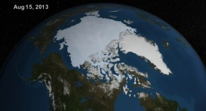 Arctic ice cap on 15 August 2013, having grown 60% in 12 months. Click to enlarge