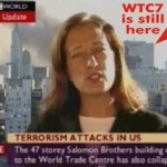 An infamous piece of BBC news coverage:  reporter announces the collapse of WTC 7 BEFORE it actually fell and with it still standing in the background. Click to enlarge