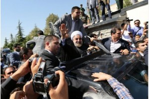 Rouhani outside Tehran airport after his return from New York, Sept 28, 2013. Click to enlarge
