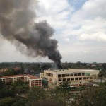 Smoke rises above Westgate Mall, Nairobi, Monday Sept 23, 2013. Click to enlarge