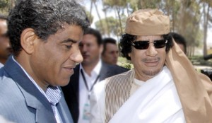 Gaddafi with his spy chief Abdullah al-Senussi (left). Click to enlarge