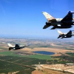 Israeli Air Force F16i jets in flight. Click to enlarge