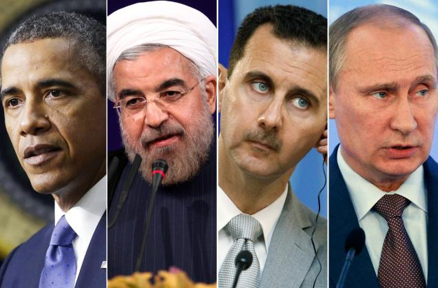Obama Rouhani Assad Putin. Click to enlarge