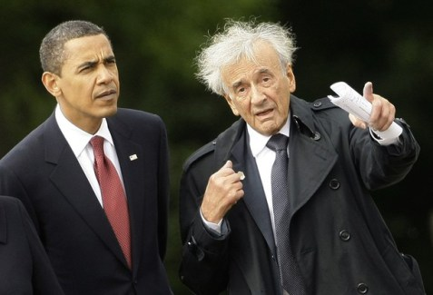 U.S. President Barack Obama (L) listens to Holocaust survivor Elie Wiesel (R) during a visit to the former Buchenwald Nazi concentration camp near the eastern German city of Weimar June 5, 2009.