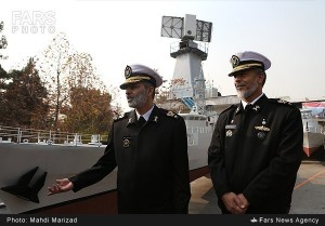 Rear Admiral Habibollah Sayyari (right) with the Air Surveillance Radar in the background. Click to enlarge