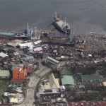 An aerial view showing ships washed ashore after Typhoon Haiyan hit the province of Leyte. Click to enlarge